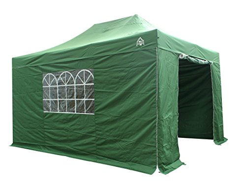 All Seasons Gazebos, 3x4.5m , Heavy Duty, Fully Waterproof, PVC Coated, Premium Pop Up Gazebo With 4 x 100% waterproof zip up Side Panels (Same quality as the roof) Comes with Carry Bag With Wheels and 4 x Upgraded leg weight bags . Choice of colours (Green)