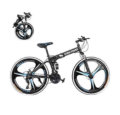 Lomelomme 26 Inch Folding Mountain Bike Shimanos Folding Bikes for Men Women 21 Speed Full Suspension Disc Brakes Cruiser Bicycles Trek MTB [US in Stock] (Black)