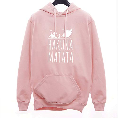 Moletom Canguru Unissex Hakuna Matata Rei Leão (Rosa-Branco, M)