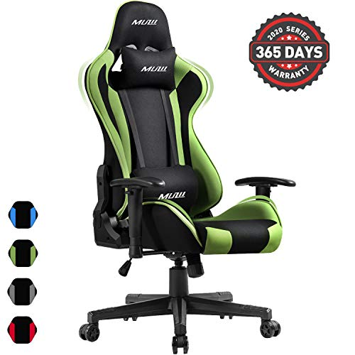 Muzii PC Gaming Chair for Pro,4-Color Choice Breathable SOFTKNIT FABRIC Racing Style Ergonomic Adjustable Computer Chair for Office or Game with Headrest and Lumbar Pillow for Adults and Teens (GREEN) chair gaming green
