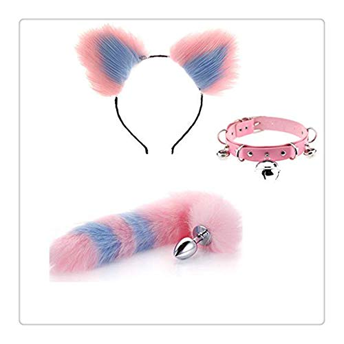 Z-one 1 Pop-Up Cat Ear Furry Diadema Fox Plug Tail Accesorios Traje con collar Gargantilla...