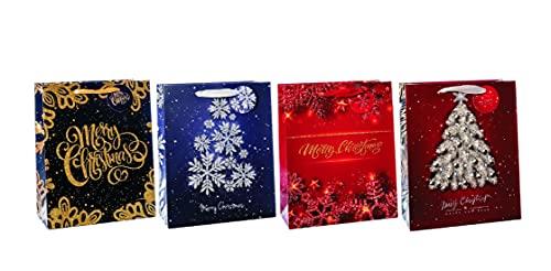 Bolsa de regalo de papel de 12 x 7 x 15 cm, 4 decoraciones