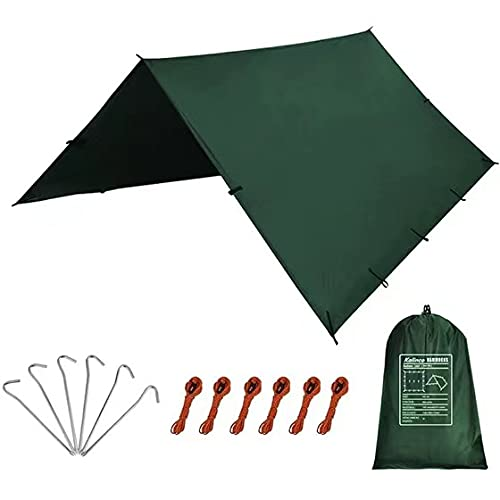 KALINCO Waterproof Camping Tarp Tent Hammock Rain Fly, 10X10FT 10X15FT, Mutifunctional Tent Footprint Lightweight Tarp for Camping, Hiking and Survival Shelter
