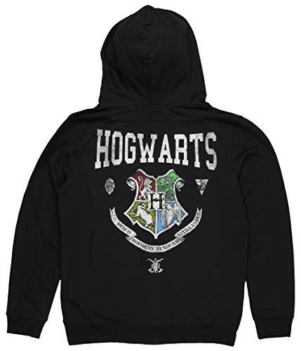 Harry Potter Hogwarts Crest Unisex Hoodie, Large Black