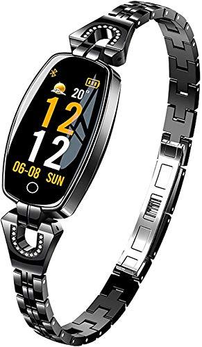 Smartwatch mujer pulsera de joyería de diamante pulsera de fitness hecha de acero inoxidable monitor de ritmo cardíaco reloj con medición de presión a...