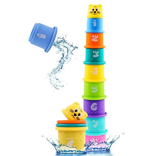 PHYLES Cubos Apilables Juguetes, Juguetes de Apilables para Niños, Cubos de Juguete Apilable con Números yAnimales y Letras del Alfabeto, Adecuados para Los Primeros Juegos Educativos del bebé