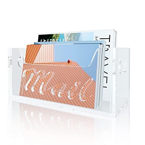 wishacc Transparent Acrylic Mail Holder Box, Decorative Bill & Letter Sorter for Desk, Countertop Vertical Envelope Storage Basket/File Folder Organizer/Paper Divider Tray