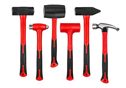 C&T 6-Piece Hammer Set, Fiberglass Handle & Mallet Set, With Shock Reduction Grip, Metal Working | Garage Home Kit | Mechanic Tools | Sledge Hammer | blacksmith Hammer | Ball Peen Hammers | Hand Tools