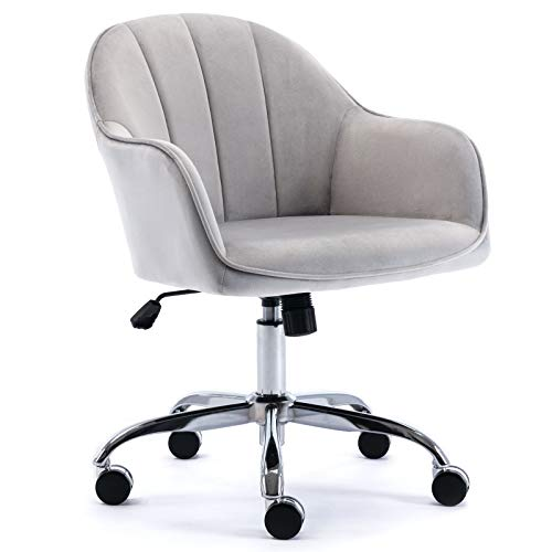 J&L Furniture Modern Design Velvet Office Desk Chair Mid-Back Home Office Chair Swivel Adjustable Task Chair Executive Accent Chair with Soft Seat (Grey)