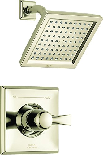 Delta Faucet Dryden 14 Series Single-Function Shower Trim Kit with Single-Spray Touch-Clean Shower Head, Polished Nickel T14251-PN (Valve Not Included)