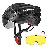 Queshark Casco Bicicleta con 2 Lente Magnética Protección de Seguridad Ajustable Casco de Bicicleta Ligera para Montar en Bicicleta Casco de Bicicleta BMX Skate Mountain Road (Negro Mate)