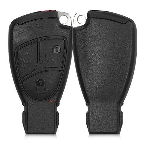 kwmobile Autoschlüssel Gehäuse kompatibel mit Mercedes Benz 2-3-Tasten Autoschlüssel - ohne Transponder Batterien Elektronik - Auto Schlüsselgehäuse - Schwarz