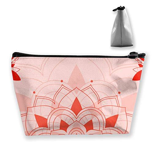Grande trousse de toilette avec motif mandalas sur fond rose