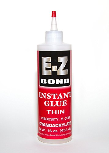 Premium Super Glue Bundle - EZ Bond CA 16 oz, 5 CPS Best Cyanoacrylate Adhesive - Strongest Bond on the Market - Doesn't Clog - Perfect Wood and Shoe Glue - Less than a Minute Cure Time - Works Excellent with Metal, Plastic, Ceramics & More.