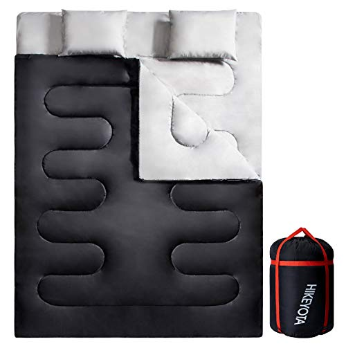 Sleeping Bag, Sleeping Bags for Adults Lightweight Double Sleeping Bag 4 Seasons Warm & Cold Weather Sleeping Bag for Camping, Hiking and Backpacking with Pillows and Compression Sack