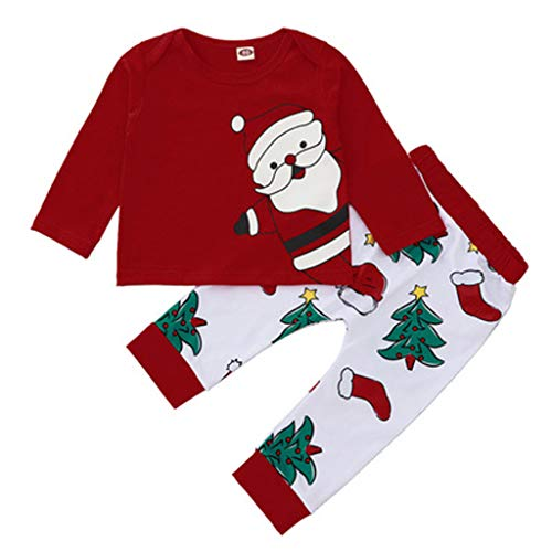 Christmas Red Clothes Outfits Newborn Baby Girls 2Pcs Christmas Ourfits Toddler Baby Cute Girl Santa Print Long Sleeve T Shirt Cotton Tops Christmas Tree Print Pant Casual Xmas Clothes Set