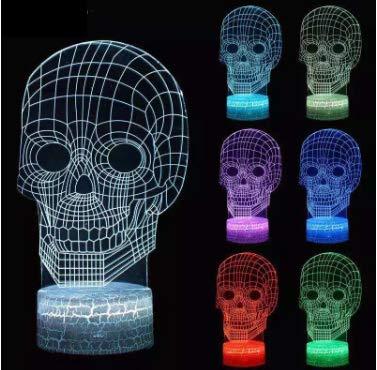 ML 3D Schreibtischlampe Win-Y LED 7 Berührungsempfindliche Farbe der Lampe für Schlafzimmer Haus Dekoration Büro für Kinder Geburtstag (Totenkopf)