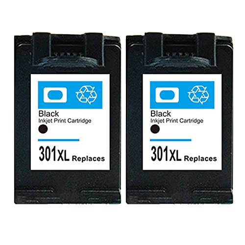 RICR 301 XL Reemplazo de Cartucho de Tinta Compatible para HP 301XL, Adecuado para DeskJet 2050 2540 3050 1510 Envy 4500 5530 5532 OfficeJet 2620 2622 4630 4636 Impresora Black x 2