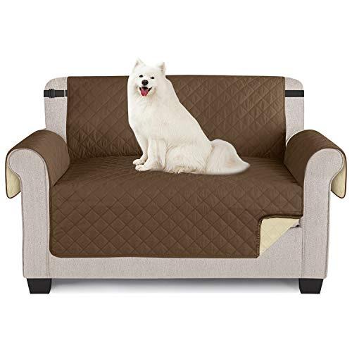 TAOCOCO Sofaschoner Sofa Abdeckung wasserdichte Sofa Überwürfe mit elastischen Riemen Rutschfes für Hunde Haustieren, Abnutzung und Riss schützen (Braun, 2 Sitzer)