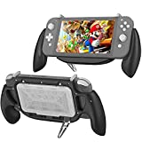 Hand Grip Case for Switch Lite, KIWIHOME Switch Lite Grip with Stand Ergonomic Comfort Handles with Game Storage Case Support Quick USB Charging Protective Case Kit for Switch Lite (Black)