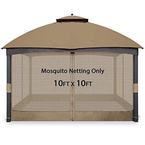 GH-YS Mosquitera para Gazebo, mosquitera Universal de Repuesto para mosquiteras, Paredes de Pantalla Ajustables para toldo de Gazebo de 10'x10 'o 10'x12', 10 pies * 10 pies