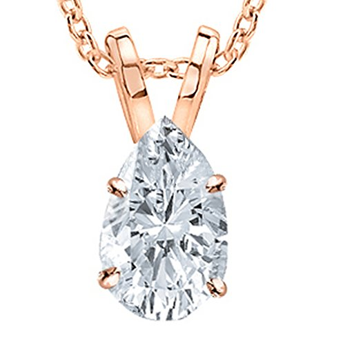 3 Carat 18K Rose Gold GIA Certified Pear Cut Diamond Pendant Necklace Ultra Premium Collection (H-I
