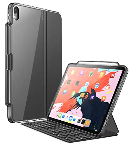 i-Blason Hülle für iPad Pro 11 Zoll 2018 Slim Case Transparent Schutzhülle Hybrid Hardschale Cover mit Pencil Halter [Kompatibel mit offiziellem Smart Cover und Smart Keyboard] (Schwarz)