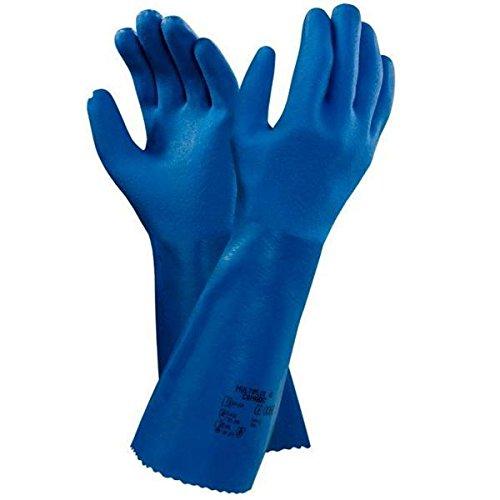 Ansell Multiplus 40 Gants en PVC, protection contre les produits chimiques et les liquides, Bleu, Taille 9 (Sachet de 12 paires)