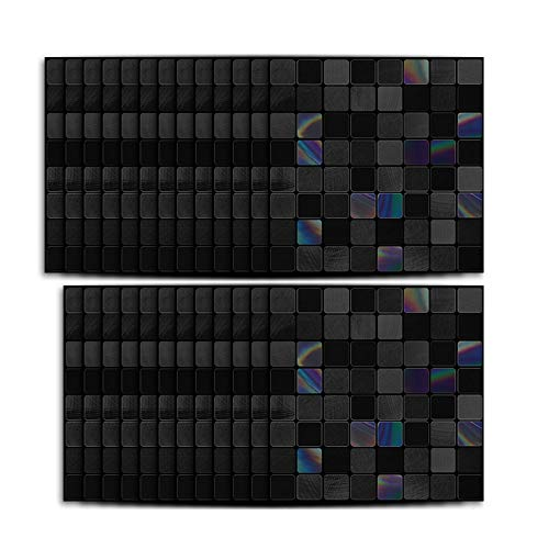 BATEER 25 Sheets Peel and Stick Backsplash for Kitchen, 3D Wallpaper Stick and Peel Metal Mosaic Tile, Self-Adhesive Wall Tile Stickers for Bathroom Fireplace Living Room Decoration
