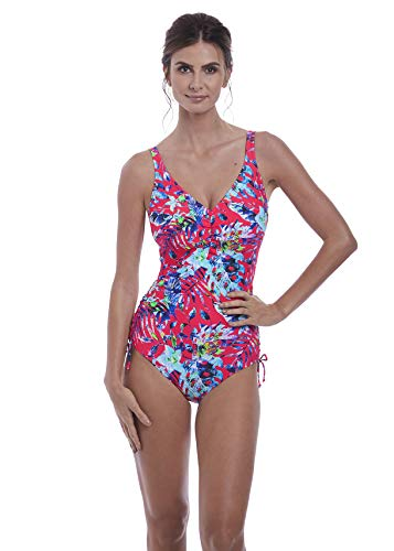 Fantasie Womens Fiji Underwire V-Neck Adjustable Leg Swimsuit, 34H, Azalea