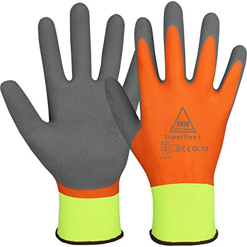 10 Paar Hase Safety Gloves Superflex+ Latex-Arbeitshandschuhe wasserdicht, rutschfeste Gartenhandschuhe Größe L (09)