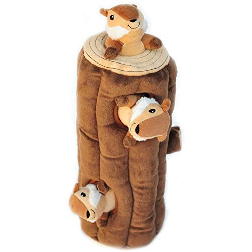 Woodland Friends Burrow, Interactive Squeaky Hide and Seek Plush Dog Toy - Chipmunks