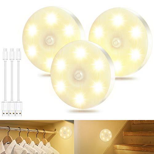 Nachtlicht mit Bewegungsmelder USB Wiederaufladbar, LED Schrankbeleuchtung Treppenbeleuchtung LED mit Bewegungsmelder warmweiss für Flur, Treppe, Schlafzimmer, Küche & Schrank [Energieklasse A]