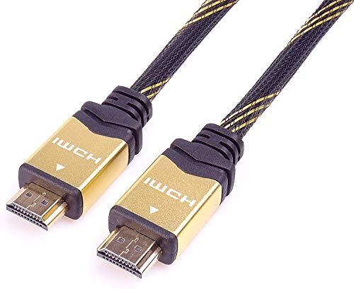 PremiumCord 4K High Speed HDMI 2.0b Kabel M/M 18Gbps mit Ethernet, Kompatibel mit Video 4K@60Hz, Deep Color, 3D, ARC, HDR, 3x geschirmt, vergoldete Anschlüsse, schwarz und gold, 1 m
