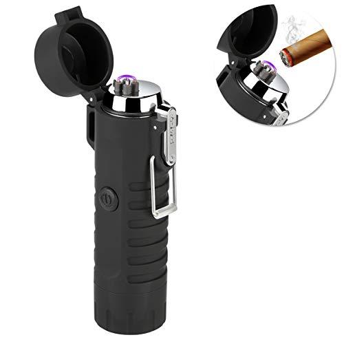 Qimaoo Qimaoo USB Feuerzeug, Elektro Feuerzeug Wiederaufladbar mit Taschenlampe, Lichtbogen Feuerzeug Wasserdicht Winddicht Flammenlos, Plasma Feuerzeug für Zigarren, Küche, Outdoor, Camping Schwarz-b