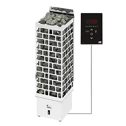 Sawo Cubos Ni2 6kW Elektrische Saunaofen mit externer Steuerung Saunova (Ni2-Modell) zur Installation in Wandnähe für Saunakabinengröße 5 – 9 m³