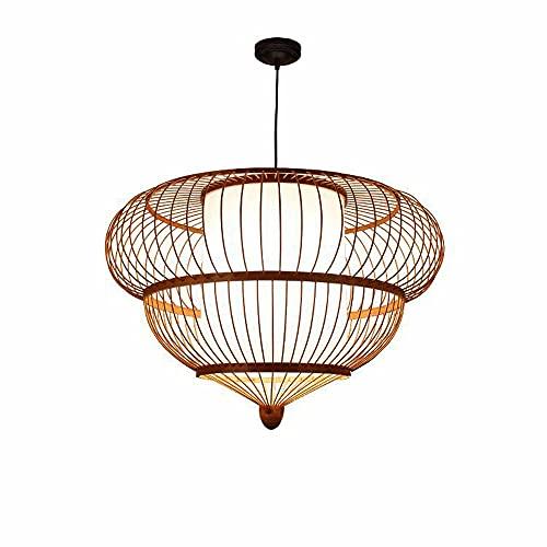 ZHANGL Lámpara de araña de bambú Creativa nórdica E27 Lámpara de araña de Mimbre Tejida de bambú Hecha a Mano Inn Bed and Breakfast Lámpara de Techo de Tatami Iluminación Decorativa Ajustable