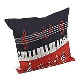 JOOFFF Music Note Kissenbezug, Piano Patten Kissenbezug Home Decor für Auto Bett Sofa, rot