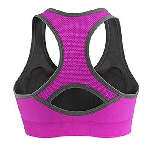 Honglion Women's Sport Yoga Running Jogging Fitness Exercise High Impact Racerback Workout Bra Rose, M