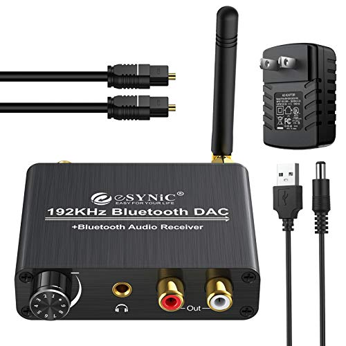 eSynic 192kHz DAC Digital to Analog Audio Converter with Bluetooth 5.0 Receiver Volume Control Optical Coaxial Toslink Bluetooth Digital Audio to Analog Stereo L/R RCA 3.5mm