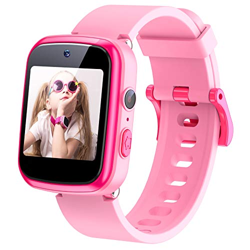 Dwfit Kids Smart Watch,Built in Selfie-Camera,Gift for Boys Girls Age 3-12 Birthday Gift,Multi-Function Touchscreen Smartwatch,Electronic Watches,Toys for 3 4 5 6 7 8 9 Years Old Girl-Pink