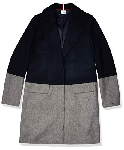 Tommy Hilfiger Damen ADP W Milano Wool Coat Color BLKED Mantel aus Mischwolle, Masters Navy Bc07 Heather Grey, Large