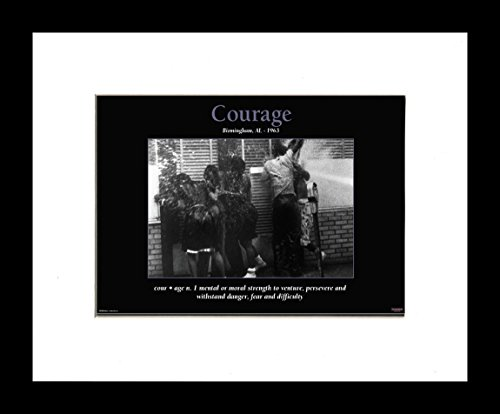 African American Motivational Posters Courage: Birmingham Civil Rights Crusade (Framed, 8x10 inches