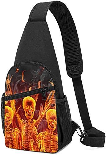 Nigel Tomm Sling Bag Fire Skeletons Mochila de Hombro con Estampado Crossbody Monedero Viaje Senderismo Bolsa de Pecho Mochila