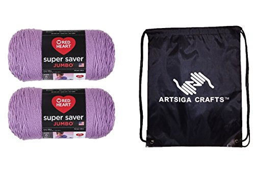 Red Heart Knitting Yarn Super Saver Jumbo Orchid 2-Skein Factory Pack (Same Dyelot) E302C-0530 Bundle with 1 Artsiga Crafts Project Bag