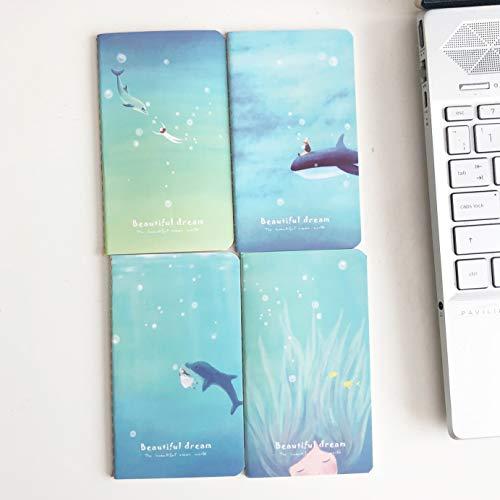 Geschenken UK® 4 pk meisje dolfijn walvis oceaan schattige mini-notitieboekjes kleine notitieblokken Pocket Memo Pads een set van 4 ontwerpen