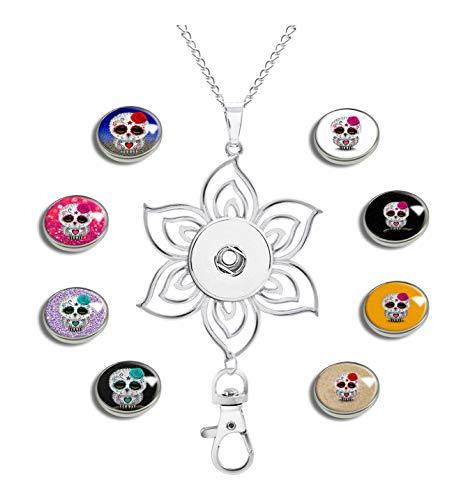 GDEE CUSTOM Womens Office Lanyard ID Badges Holder Necklace with 8pcs Image Glass Snap Charms Jewelry Pendant Clip (Cute Red Day of The Dead Sugar Skull Owl Rough-03)