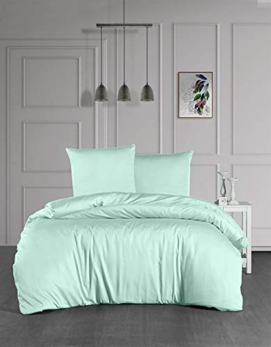 Ropa de cama Mako Maco Satén Algodón Satén Ropa de cama Funda nórdica 200 cm x 200 cm Color Verde Claro Mint