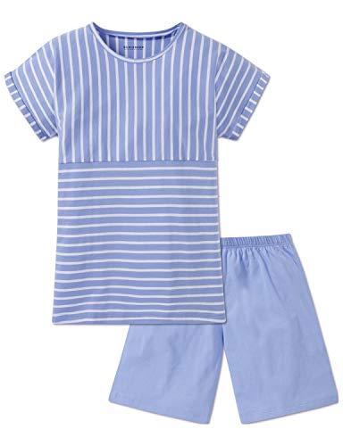 Schiesser Mädchen Anzug kurz' Zweiteiliger Schlafanzug, Blau (Hellblau 805), 152 (Herstellergröße: S)