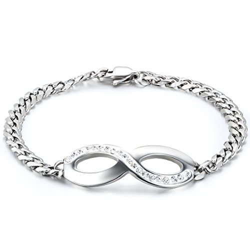 JewelryWe Schmuck Edelstahl Armband Infinity Figur 8